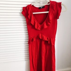 MISSGUIDED RED RUFFLE MINI DRESS